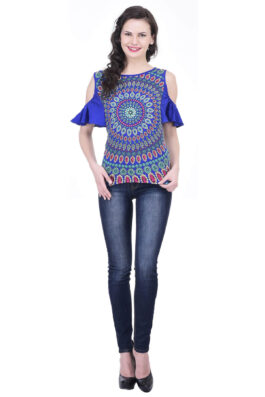 Blue Abstract Print Top 3058