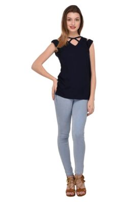 Navy Blue Solid Print Top 3269