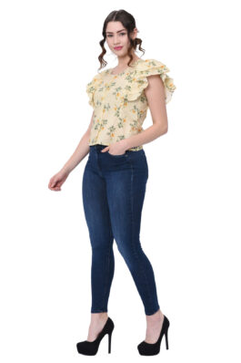 Yellow Floral Print Top