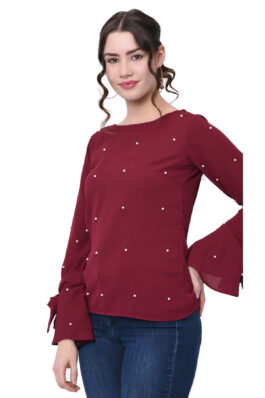 Maroon Pearl Embroidered Top