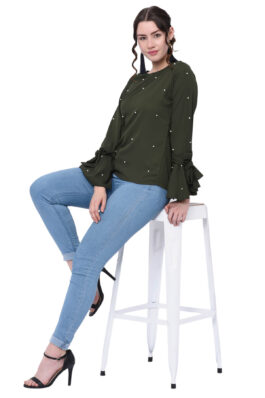 Dark Green Pearl Embroidered Top