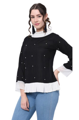 Black N White Pearl Embroidered Top