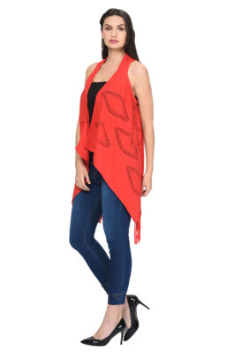 Red Solid Print Shrug