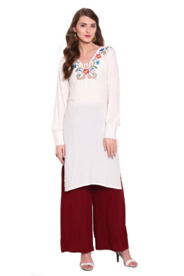 White Straight Solid Embroidered Kurti Set
