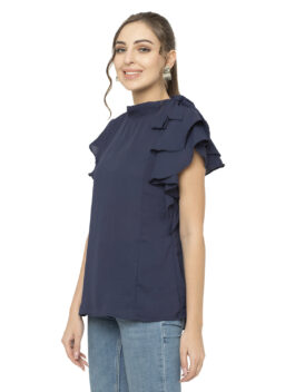 Navy Blue Solid Print Top
