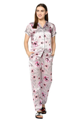 Pink Floral Print Night Suit