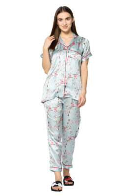 Green Floral Print Night Suit