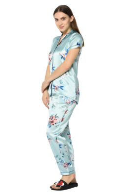 Turquoise Floral Print Night Suit