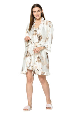Offwhite Floral Print 3 Pc Night Suit