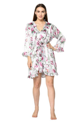 White Floral Print 3 Pc Night Suit