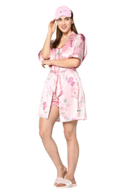 Pink Floral Print 3 Pc Night Suit