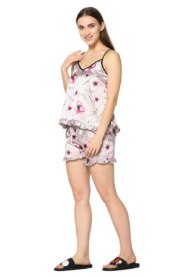 Pink Floral Print 2 Pc Night Suit